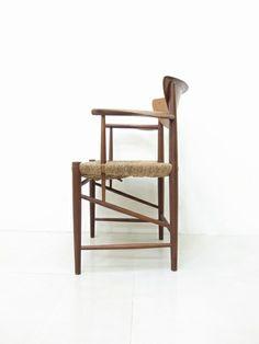 Peter Hvidt; Teak and Rush Arm Chair for Søborg Mobelfabrik, 1956.