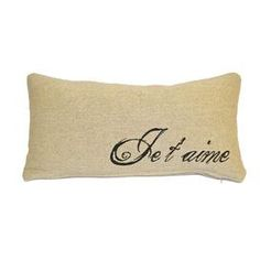 "Cotton and linen-blend pillow with a French script motif. Product: PillowConstruction Material: Cotton and linenColor: BurlapFeatures: Knife edgeInsert included Dimensions: 10"" x 20""Cleaning and Care: Dry clean only"