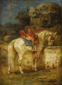 ADOLF SCHREYER (German 1828 - 1899). A Horse at Well. Oil on panel. 6 x 4-1/2 inches