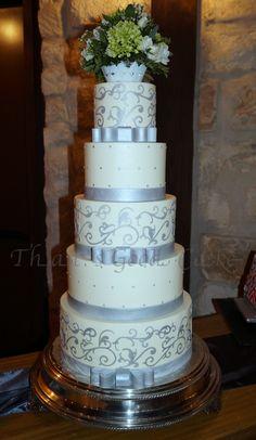 Buttercream scroll wedding cake
