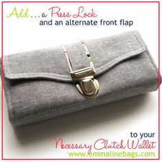 Do you know how easy it is to add a Press Lock or Tongue Lock?  I will show you how to add one of these locks and give you a fun alteration to the Necessary Clutch Pattern for a new front flap at the same time.  Have a look! Janelle