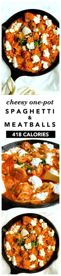 one pot spaghetti and meatballs recipeCheesy One Pot Spaghetti and Meatballs - This healthy one pot recipe is classic comfort food! Spaghetti and turkey meatballs, made all in one pan, topped with dollops of ooey gooey ricotta cheese! 418 calories per serving:::