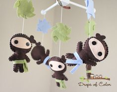 """Think JOsh and I might try to make this... Hmmm.... Baby Crib Mobile - Baby Mobile - Ninja Mobile - Boy Mobile - """"Ninjas Under Attack Mobile"""" (You can pick your colors). $88.00, via Etsy."""