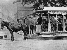 This Detroit horse-drawn trolley was photographed in 1910. The Fort Wayne & Elmwood Railway Co. dates back to at least 1874.
