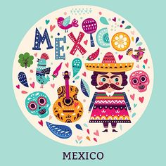 Colorful stylish vector illustrations with Mexican elements. Illustration set for traditional Mexican holidays Cinco de Mayo and Logo Mexicano, Latina, Mexican Holiday, Folk, Mexican Designs, Mexican Art, Freelance Illustrator, Bullet Journal Inspiration, Crafty Projects