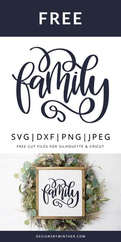 Free hand lettered family svg file for your cutting machines, such as silhouette and cricut. Use on things like signs, home decor, tea towels, scrapbooking and more. svg files for cricut signs Free Family SVG DXF PNG & JPEG Cricut Air, Cricut Vinyl, Cricut Monogram, Monogram Fonts, Diy Craft Projects, Vinyl Projects, Silhouette Cameo Projects, Free Silhouette Designs, Free Silhouette Files