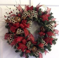 Jingle Bell Country Christmas Wreath with by SeasonsAtRosehill, $42.50 by angie