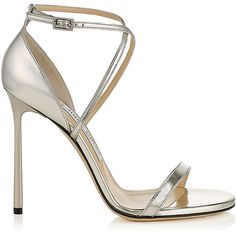 Silver Mirror Leather Sandals HESPER 110 (15 225 ZAR) ❤ liked on Polyvore featuring shoes, sandals, real leather shoes, silver leather shoes, leather sandals, silver mirror shoes and silver shoes