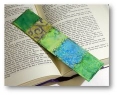 Quilted Fabric Bookmark  Green Batik by ArtfulPanache on Etsy, $4.00