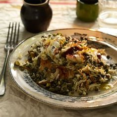 Chicken, date & lentil pilaf with saffron butter
