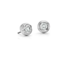 Diamond Bezel Stud Earrings in 18k White Gold | #Jewelry #Earrings #Accessories