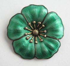 Vintage Mid Century Modern Denmark Danish Sterling Green Enamel Poppy Flower Pin | eBay