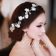 韩式新娘发饰蕾丝发带头饰品跟妆影楼结婚纱头花白纱配饰白色包邮-淘宝网