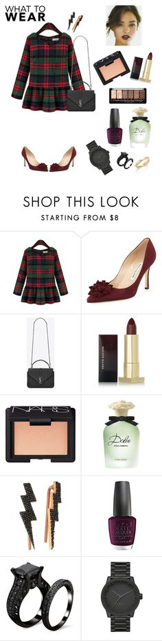 """""""Saturday Night Fever"""" by annisamuahmuah ❤ liked on Polyvore featuring Manolo Blahnik, Yves Saint Laurent, Kevyn Aucoin, NARS Cosmetics, Dolce&Gabbana, Bee Goddess, OPI, LEFF Amsterdam, De Beers and contestentry"""