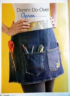 Recycle jeans to make an apron! Ave and I need this I am always looking for my s. - - Recycle jeans to make an apron! Ave and I need this I am always looking for my scissors or the marking pencil Sewing Aprons, Sewing Clothes, Diy Clothes, Denim Aprons, Jean Crafts, Denim Crafts, Artisanats Denim, Jean Apron, Denim Ideas
