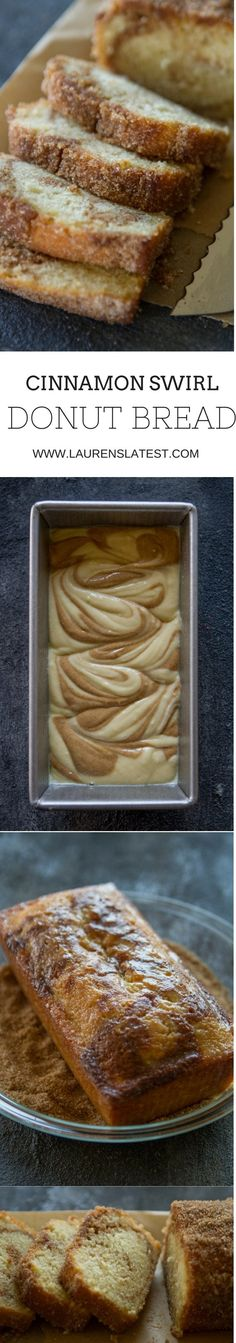 You Have Meals Poisoning More Normally Than You're Thinking That Cinnamon Swirl Donut Bread.A Sweet Cake Loaf With A Delicious Cinnamon Swirl Baked Until Perfection And Then Dipped Into Lots Of Butter And Coated With Cinnamon And Sugar Yesssss. Just Desserts, Dessert Recipes, Weight Watcher Desserts, Cupcake Cakes, Cupcakes, Kolaci I Torte, Cinnamon Bread, Cinnamon Butter, Cinnamon Rolls