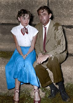 "Audrey Hepburn & Gregory Peck - ""Roman Holiday "" 1953  Coloured by History in Colour"