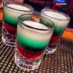 THE BLITZEN SHOT *Red Layer* Grenadine *Green Layer* Creme de Menthe *White Layer* Vanilla Vodka Whipped Cream