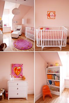 pink & orange nursery - I like this light pinky orange wall color with the brighter orange and pink accents, I want to include some spring green too