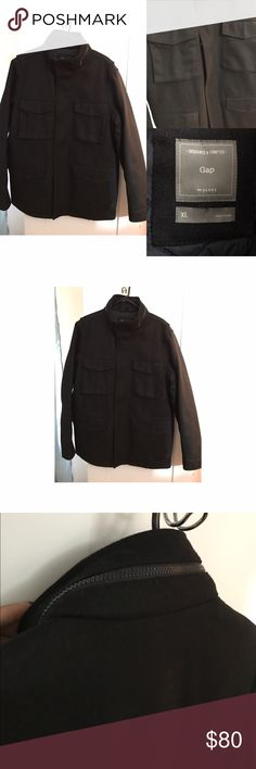 Men's black wool blend coat/jacket from the Gap Only worn once. Black wool blend coat/jacket. 4 pockets in front. Zipper around the collar (see pic) with hood inside. Great deal! Cover photo is not the actual coat but the style is very similar. If interested, please make an offer. GAP Jackets & Coats
