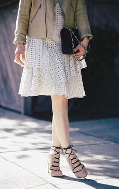 Love the way Hallie Daily styled our Donna Morgan Lacey dress with a Ralph Lauren moto jacket! So chic! #ootd #lacedress #fashion