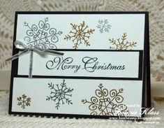 "Stampin' Up! ... handmade Christmas card from Stamping with Klass ... delicate snowflakes from Endless Wishes embossed in gold and silver ... ""Merry Christmas"" sentiment in in elegant calligraphy .... like it! by Jovita Cruz"