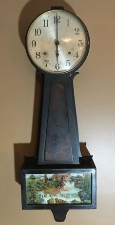 Antique Gilbert Mahogany Wall Clock 8 Day Key Wind Key