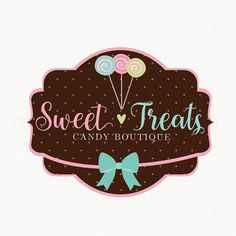 Candy Shop Logo Design Sweets Boutique Logo by stylemesweetdesign
