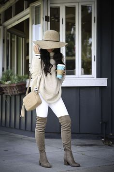 How to wear over the knee boots -petite cable knit poncho, over the knee boots, neutral fall outfit, winter white, white jeans, petite fashion blog, stylish petite - click the photo for outfit details!
