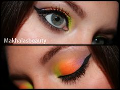 Neon bright colours with a heavy black liner