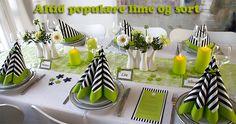 lime farvet borddækning konfirmation