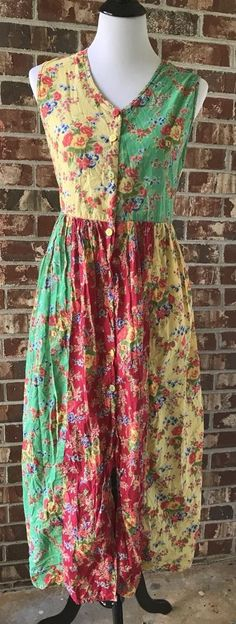 April Cornell Boho Hippie Floral Colorful Summer Dress Cornell Trading Large #AprilCornell