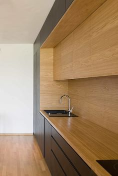 Kitchen Interior Design Black Line Apartment / Arhitektura d. - Image 13 of 22 from gallery of Black Line Apartment / Arhitektura d. Photograph by Jure Goršič Kitchen Room Design, Modern Kitchen Design, Home Decor Kitchen, Interior Design Kitchen, Home Kitchens, Wooden Kitchens, Kitchen Lamps, Kitchen Designs, Kitchen Lighting