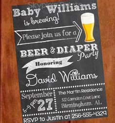 Personalized Printable BEER and DIAPER INVITATION by SkyPiesPrints