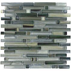 Renaissance Glass Tile - Handicraft II Art Glass Linear Mesh Mounted Glass Mosaic in Black Sea - ( GBM-125488 )