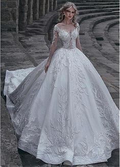 [308.40] Gorgeous Tulle & Lace V-neck Neckline Ball Gown Wedding Dress With Lace Appliques & Beadings - dressilyme.com
