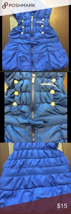 Calvin Klein Jeans Girls Blue Puffer Vest Size 4T Calvin Klein Jeans * Girls Puffer Vest * Size 4T * Blue * Zip Front with Tie Waist * Gold Accents * Excellent Used Condition  Visit @KellysCache for Women's Fashion  Visit @MensStyleHouse for Top Brand Men's Fashion Calvin Klein Jeans Jackets & Coats Puffers