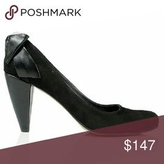 """New Laura Black Leather&Suede Mid Heels Busy days and fun nights call for sexy but comfortable heels.   Heels: 75mm - 3""""  Upper: Leather In-sole: Leather  Out-soles: Tunit  Style: Mid-Heels, Black, Back bow, Suede, Leather Shoes Heels"""