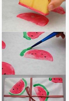 """Make a watermelon """"print"""" by cutting a potato in half, and dip it in color then """"print"""" it on the canvas . It can be a nice bag..a gift wrap or even a nice painting for your wall"""