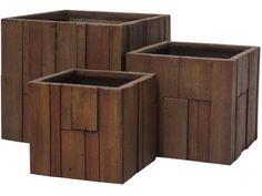 Květináč G21 Wood Cube 55x55x52cm - Zahrada > Zahradní doplňky > Truhlíky, květináče