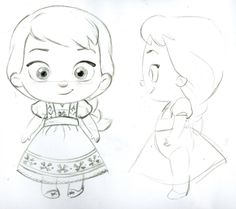 Sketches of Steve's Anna and Elsa toddler plush for the Disney Stores