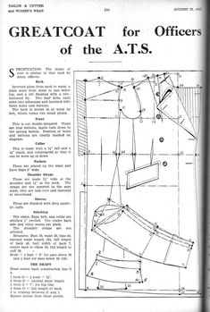 The Military Styled Greatcoat for Women - Women's Cutter and Tailor Diy Clothing, Sewing Clothes, Clothing Patterns, Dress Patterns, Sewing Patterns, Feeling Left Out, Military Looks, Make Do And Mend, Pattern Drafting