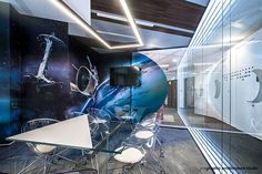 Meeting room in the Zitec office in Bucharest Photos by Sabin Prodan Space Invaders, Bucharest, Office Interiors, Spaceship, Star Trek, Cool Designs, Design Inspiration, Plastic, Studio