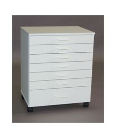 "SMI 7 Drawer Melamine Taboret Vanguard Style TB700M. White melamine over wood composite White plastic drawer handles Heavy-duty wood drawer glides Stackable 4 swiveling with 2 locking wheels 1 medium-depth and 6 shallow drawers Outer dimensions: 22½""L x 16½""W x 27⅝""H"