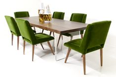 walnut slab dining table w/ lucite plinthe legs  mid-century dining chairs in emerald mohair by ModShop