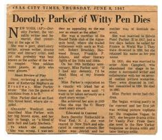 Things Found in Books: Dorothy Parker Obituary, 1967 Dorothy Parker, Founded In, Writing Advice, Screenwriting, Short Stories, Poems, Authors, Writers, Zelda