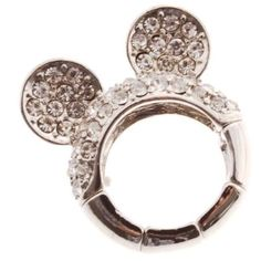 Silver tone stretch band ring with 3 clusters of crystal rhinestones, Mickey Mouse Ears Shape - Silver tone stretch band ring with 3 clusters of crystal rhinestones, (Jewelry Shack) (Beads) (Disney Jewelry) (Necklaces) (Bracelets) (Earrings) (Rings) Mickey Mouse Jewelry, Mickey Mouse Earrings, Mickey Mouse Ears, Disney Jewelry, Stretch Bands, Religious Jewelry, Disney Style, Ring Earrings, Crystal Rhinestone