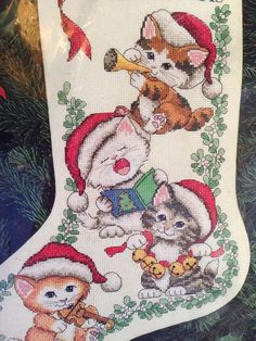 """Dimensions Counted Cross Stitch Merry Kittens Christmas Cats Stocking Kit 16"""" #CrossStitchCats #ChristmasStocking"""