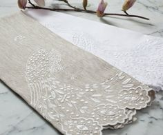 Peacock Embroidered Guest Towel, the perfect heirloom Bridal Shower gift to last a lifetime....