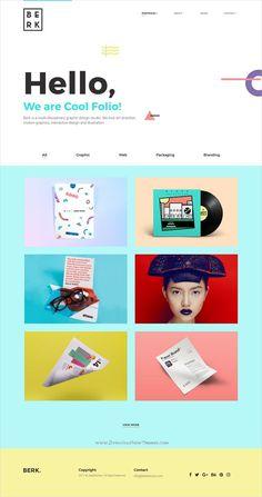 Website Design Portfolio Berk is clean and modern minimal responsive template for cre Header Design, Ui Ux Design, Design Responsive, Ui Design Mobile, Layout Design, Web Design Trends, Responsive Web, Graphic Design, Website Design Inspiration